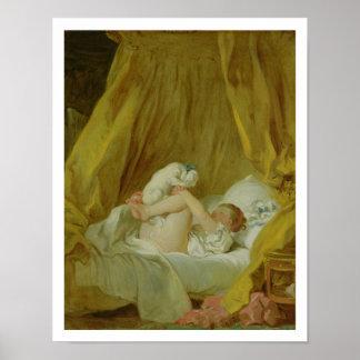 「La Gimblette」、犬を持つ女の子、c.1770 (カリフォルニアの油 ポスター