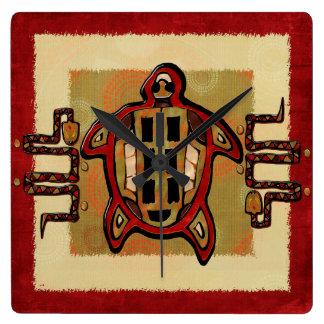 Laako'ob Uchbenのマヤの民芸の装飾 スクエア壁時計