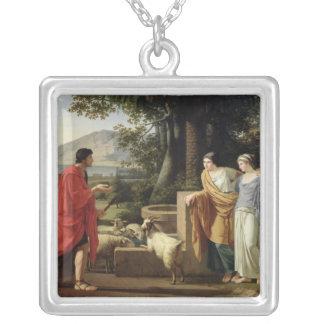 Laban 1787年の娘を持つヤコブ シルバープレートネックレス