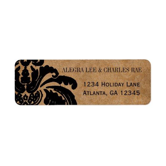 Lableを結婚するヴィンテージの黒いダマスク織 返信用宛名ラベル