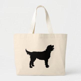 Labradoodle犬(黒で) ラージトートバッグ