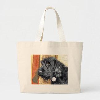 Labradoodle黒い#1のバッグ ラージトートバッグ