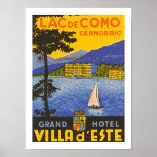Lac de Como (白い) ポスター