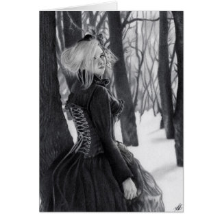 Lady of Winter Gothic Steampunk Lady  forest Card カード