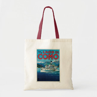 Lago di Como Vintageイタリアンな旅行ポスター トートバッグ