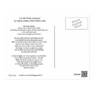 Lakotaの祈りの言葉 ポストカード