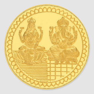 LAKSHMIおよびGANESHの金貨のデザイン ラウンドシール