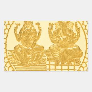 LAKSHMIおよびGANESHの金貨のデザイン 長方形シール