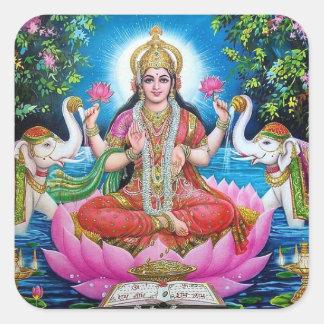 Lakshmiの女神の大きい正方形のステッカー スクエアシール