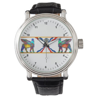 lamassuの旗のヴィンテージ革バンドの腕時計、 腕時計