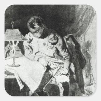 lamplight、c.1800によって彼の地図を調査しているナポレオン スクエアシール