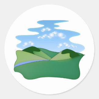 landscame、緑および青 ラウンドシール