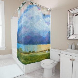 Landscape Art Painting House Rain Storm Clouds シャワーカーテン