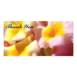 Lantanaの花が付いている写真カードありがとう カード