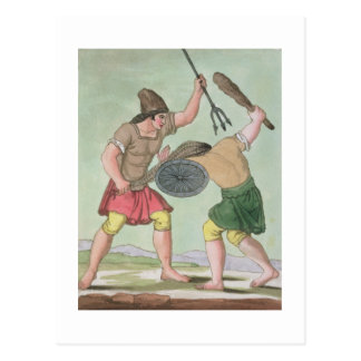 「L'Anticaローマ」からのローマの剣闘士、1825年(colo ポストカード