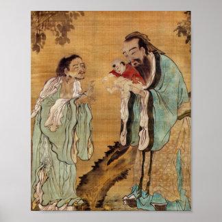 Laoziに仏を示している孔子 ポスター