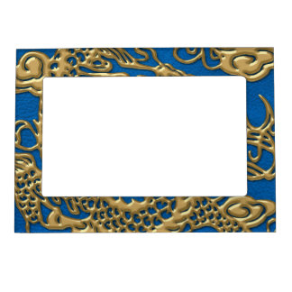 Lapisの青い革質の金ゴールドのドラゴン マグネットフレーム