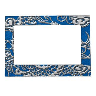 lapisの青い革質の銀製のドラゴン マグネットフレーム