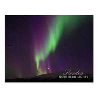 Lappland、スウェーデンのNorthern Lights ポストカード