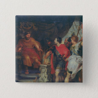 Lars Porsena、c.1618-20の前のMucius Scaevola 5.1cm 正方形バッジ