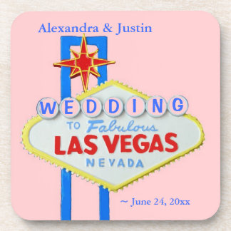 Las ベガス 結婚 ピンク パーソナライズされた 歓迎 印 飲み物コースター