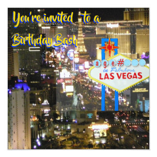 Las Vegas Birthday Bash any age on welcome sign カード