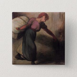 Laundress 1894年(キャンバスの油) 5.1cm 正方形バッジ