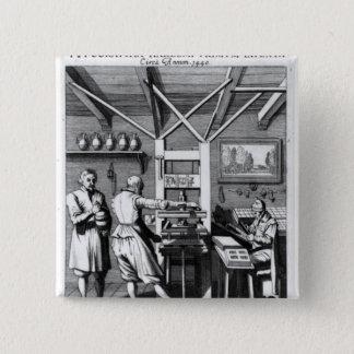 Laurens Janszoon Kosterの製本所 5.1cm 正方形バッジ