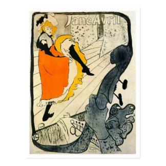 Lautrec: カンカンを踊っているジェーンAvril ポストカード