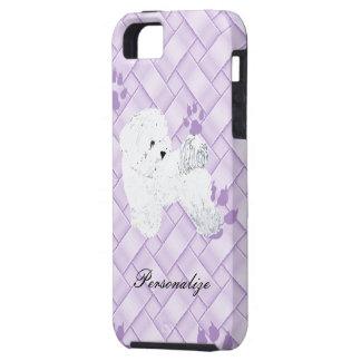 Lavendarの織り方w/pawprintsのBichon Frise iPhone SE/5/5s ケース