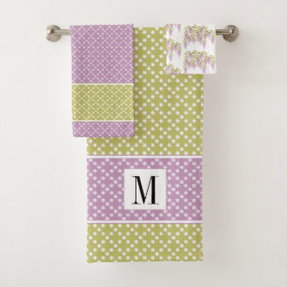 Lavender, green pattern wisteria flowers towel set バスタオルセット