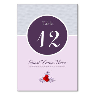 Lavender Holly Leaves & Berries Number Table Card カード