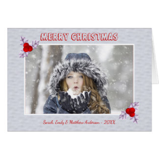Lavender Holly Leaves Snow Holiday Greeting Card カード