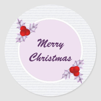 Lavender Holly Leaves Striped Christmas Sticker ラウンドシール