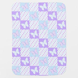 Lavender Purple Blue Butterfly Polka Dot Quilt ベビー ブランケット