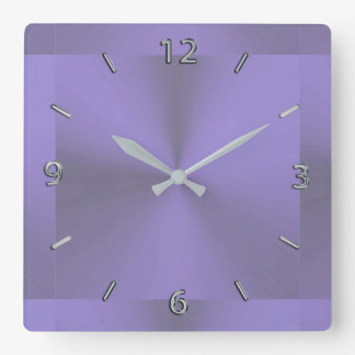 Lavender Purple Metallic Clock スクエア壁時計