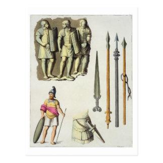 「Leからのローマの軍団兵のユニフォームそして武器、 ポストカード
