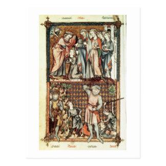Le Be著Saulとの大石柱1023 f.7vデイヴィッドおよびゴリアテ はがき