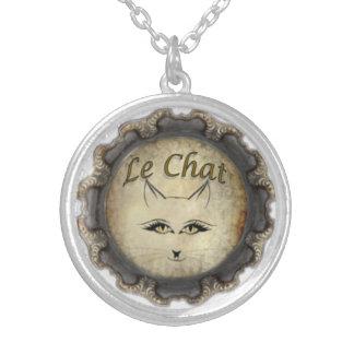 Le Chat: 黒及び灰色 シルバープレートネックレス
