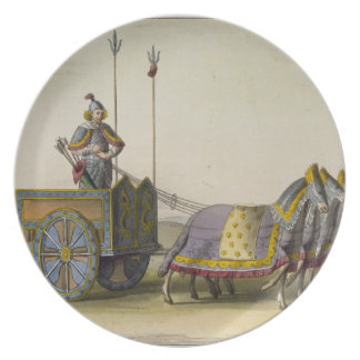 「Le Costume Anciからの古代中国のな戦争の一人乗り二輪馬車、 プレート