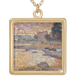 Le Lavandou、c.1908-09 (キャンバスの油) ゴールドプレートネックレス