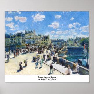 Le Pont-NeufのパリピエールAugusteルノアールの絵を描くこと ポスター
