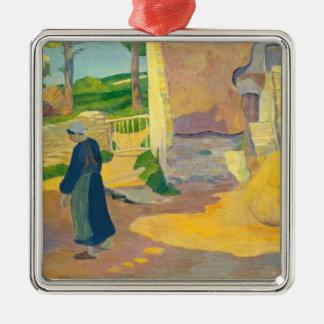 Le Pouldu 1890年の農家(キャンバスの油) メタルオーナメント