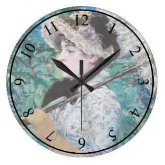 Le Printemps Manetの印象派の芸術の絵画 ラージ壁時計