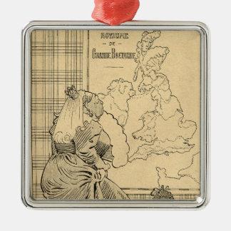 Le Rireからの女王のビクトリア漫画 シルバーカラー正方形オーナメント