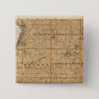 Le Sueur郡、ミネソタの地図 5.1cm 正方形バッジ