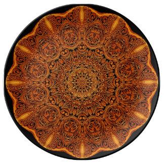 Leatherworkの曼荼羅のヴィグネットの磁器皿 磁器プレート