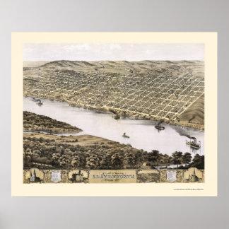 LeavenworthのKSのパノラマ式の地図- 1869年 ポスター
