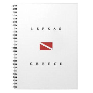 Lefkasギリシャのスキューバ飛び込みの旗 ノートブック