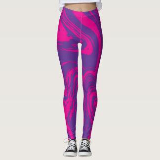 leggingピンクの紫色の抽象芸術のデジタルパターン レギンス